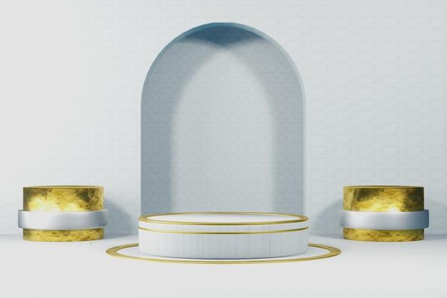 白色の製品展示のための3d表彰台シーン