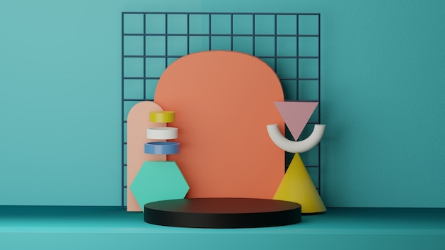 3d подиум обои фон с геометрическими фигурами высокого качества визуализации изображения