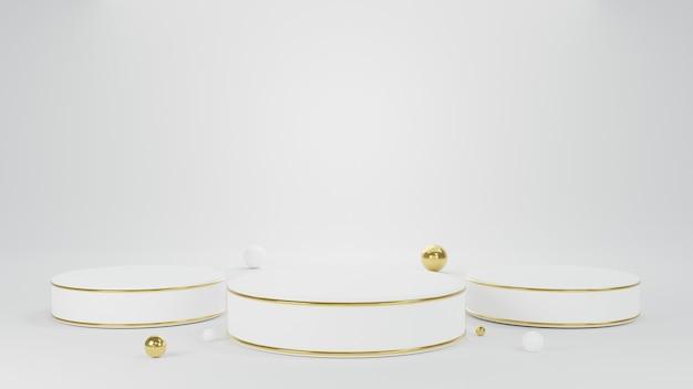 3d 연단 흰색 원형 기둥 스탠드 장면과 바닥에 작은 공