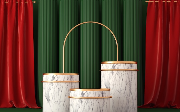 3d podium with abstract geometric composition