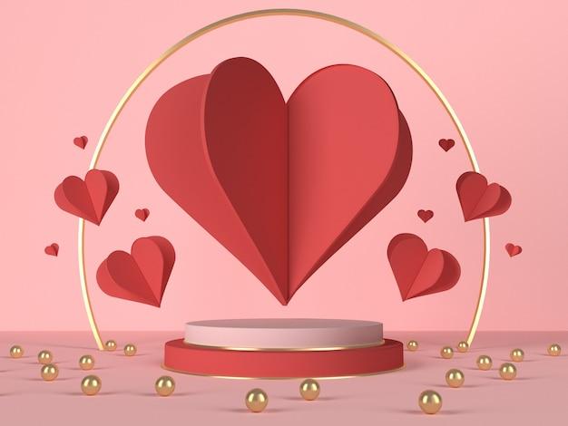 Подиум 3d с красными сердцами и украшением. валентинка. 3d рендеринг