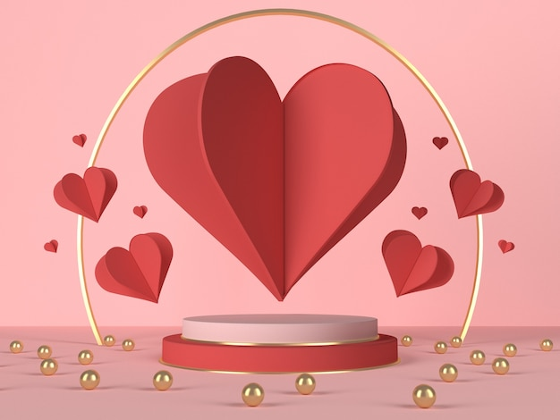 3d podium with red hearts and decoration. valentine's day card. 3d rendering