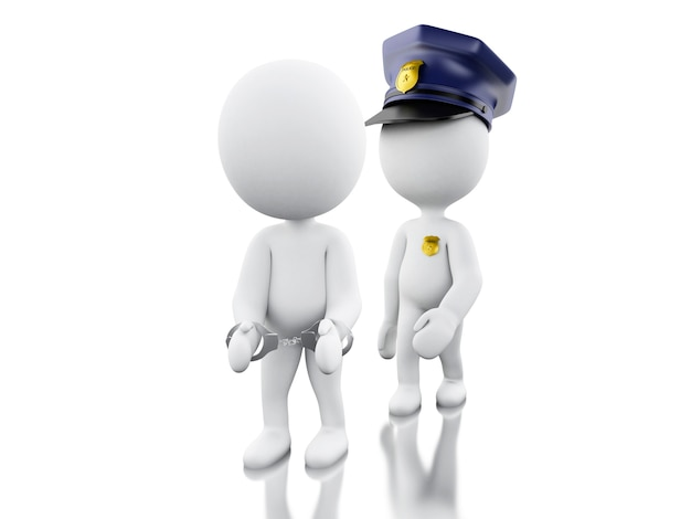 3d policeman arresting a thief against white background.