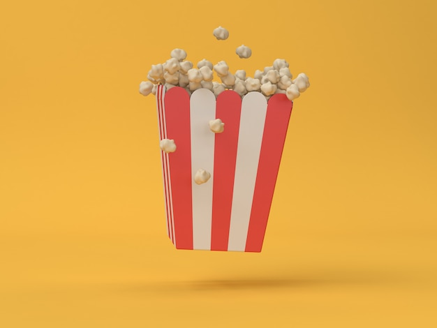3d pop corn red white box floating abstract movie,cinema,entertainment concept