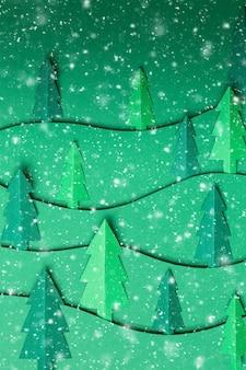 雪片と緑の壁にクリスマスツリーの紙のアートワークを3dポップアウトします。上面図。フラットレイ