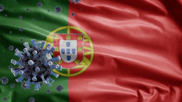 3d、ポルトガルの旗を振る、コロナウイルス2019ncovコンセプト。ポルトガルでのアジアでの発生、コロナウイルスはパンデミックと同様に危険なインフルエンザ株の症例としてインフルエンザに感染します。顕微鏡ウイルスcovid19