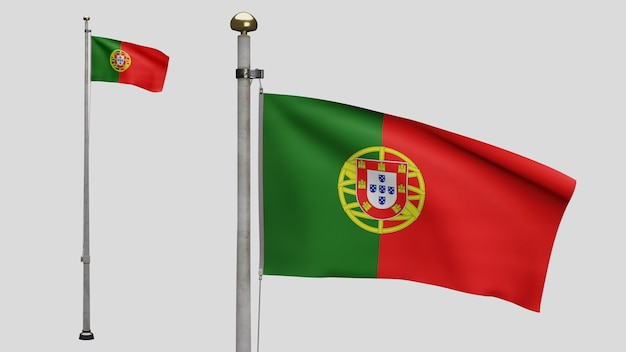 3d、風に手を振るポルトガルの旗。ポルトガルのバナーを吹く、柔らかく滑らかなシルクのクローズアップ。布生地のテクスチャは、背景をエンサインします。建国記念日や国の行事のコンセプトに使用してください。