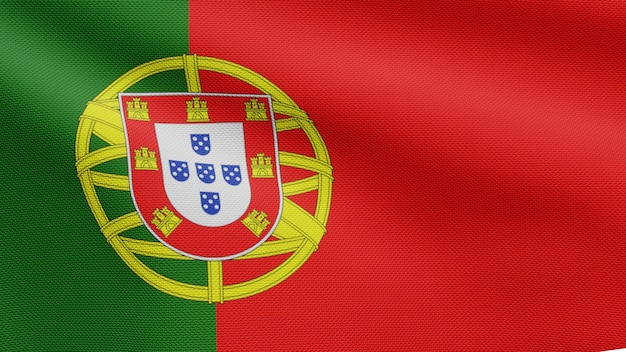 3d, portuguese flag waving on wind. close up of portugal banner blowing, soft and smooth silk. cloth fabric texture ensign background.