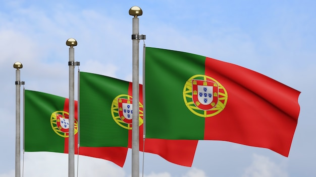 3d, portuguese flag waving on wind with blue sky and clouds. close up of portugal banner blowing, soft and smooth silk. cloth fabric texture ensign background.