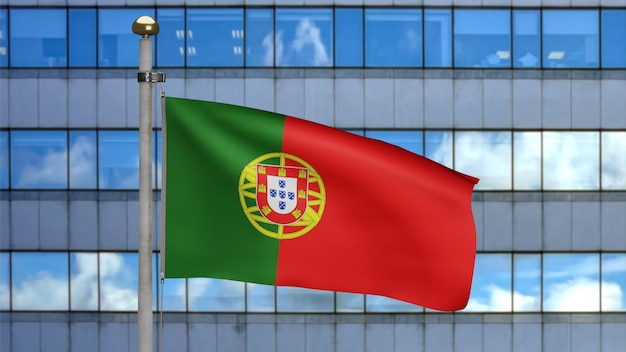 3d, portuguese flag waving on wind with modern skyscraper city. close up of portugal banner blowing, soft and smooth silk. cloth fabric texture ensign background.