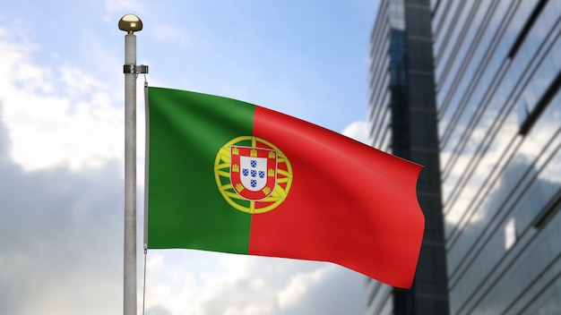 3d, portuguese flag waving on wind with modern skyscraper city. portugal banner blowing smooth silk. cloth fabric texture ensign background. use it for national day and country occasions concept.