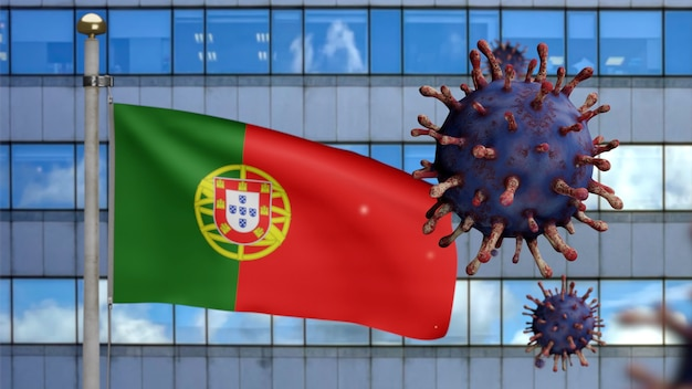 危険なインフルエンザとして現代の超高層ビルの街とコロナウイルスの発生で手を振っている3d、ポルトガルの旗。ポルトガルの全国バナーが背景に吹いているインフルエンザタイプのcovid19ウイルス。