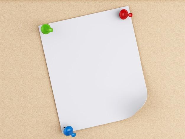 코르크 보드 위에 3d 포스트-그것 노트.