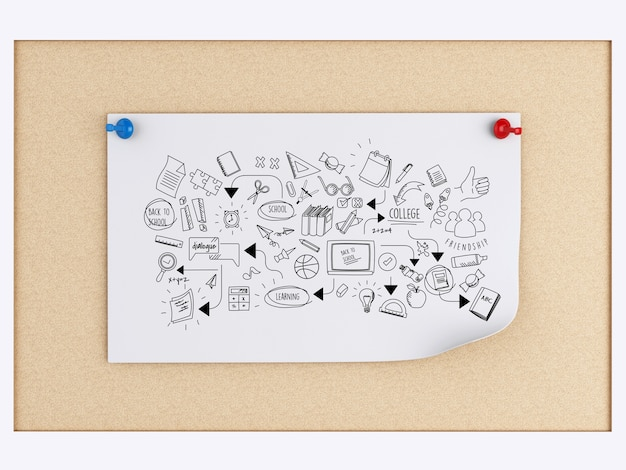 3d post-it notes with education sketch over cork board
