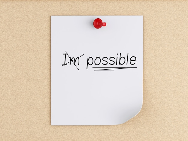 3d post-it notes with pushpin over cork. optimistic attitude