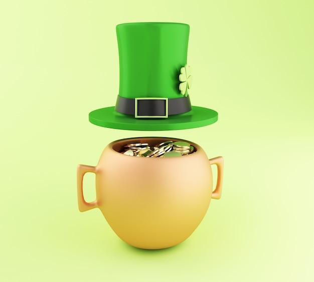 황금 동전과 모자의 3d 냄비입니다. 성 패트릭의 날.