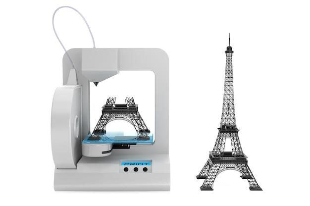 흰색 배경에 3d 프린터 빌드 에펠 탑 모델