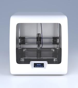 3d 프린터 모델입니다. 회색 배경에 전문 프로토타입 장치입니다. 측면 보기 그림입니다. 새로운 기술, 현대 산업 장비, 하드웨어 혁신, 미래 지향적인 아이디어 개념.