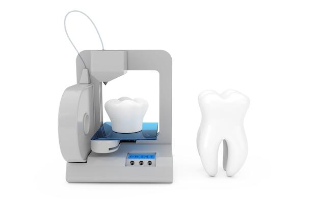 흰색 배경에 3d 프린터 인쇄 치아 임플란트. 3d 렌더링