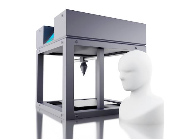 3d printer prints model of human head.