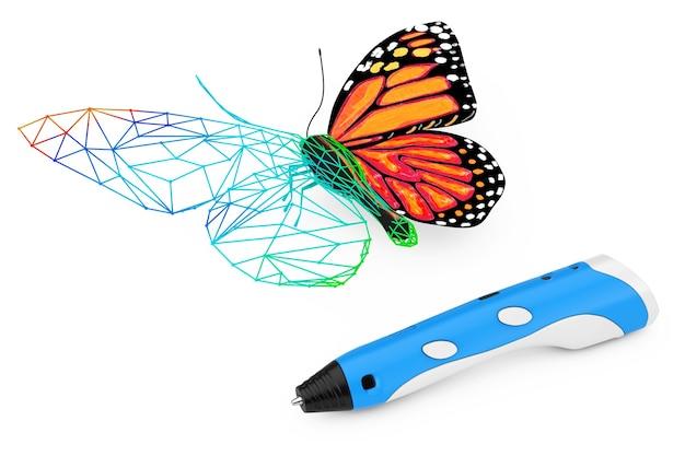 3d 인쇄 펜 흰색 배경에 추상 유선 나비를 인쇄합니다. 3d 렌더링