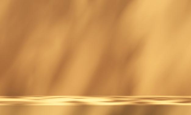 주황색 배경과 나무 그림자가 있는 3d 제품 연단 디스플레이, 여름 제품 모형 배경, 3d 렌더링 그림
