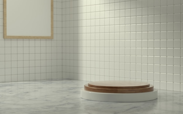 Этап 3d-продукта в ванной комнате с утренним солнечным светом
