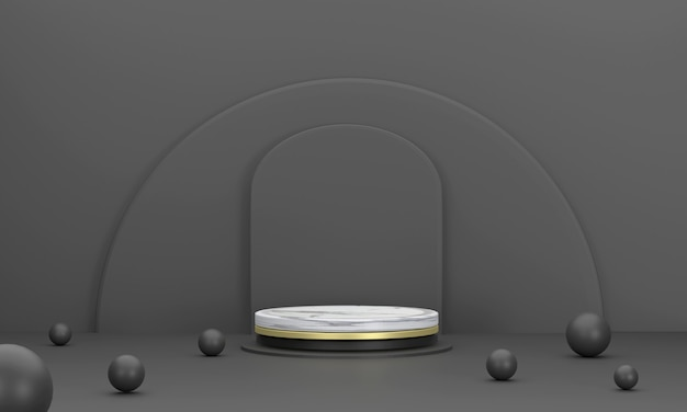 3d. 제품 무대 대리석 원형 연단 제품 프레젠테이션을 위한 검은색의 반원 배경.