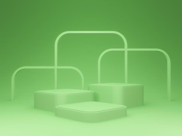 3d 제품 스탠드. 녹색 연단입니다.