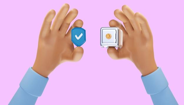 3d 보호 방패 아이콘, 방패 기호에 확인 표시, 안전 개념. 3d 그림