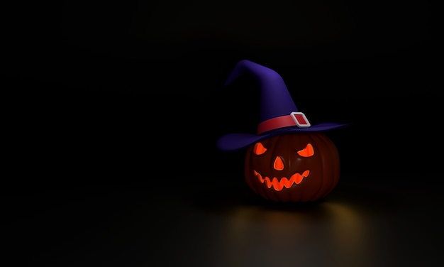 3d. pumpkin witch hat ghost halloween night on a black background that looks like a banana face