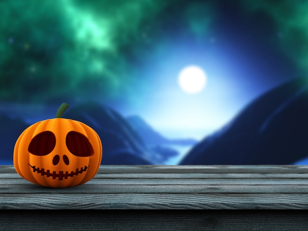3d pumpkin on a wooden table against a defocussed spooky landscape