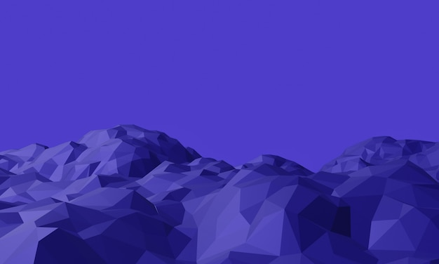 3d фиолетовый низкополигональный топографический ландшафт