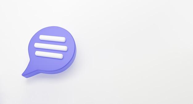 Значок чата с фиолетовым речевым пузырем выделен на белом фоне. творческая концепция сообщения с копией пространства для текста. сообщение или комментарий символ чата. концепция минимализма. 3d визуализация иллюстрации