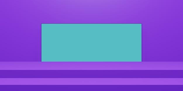 3d 보라색 무대. 기하학적 제품 스탠드.