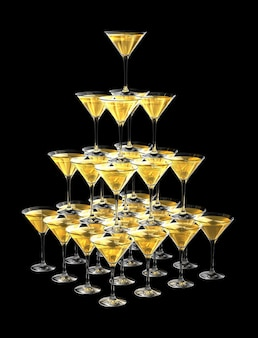 3d pyramid of champagne glasses isolated on black