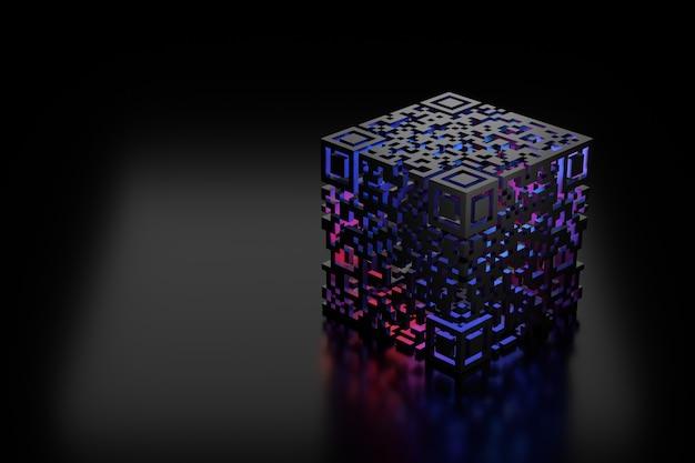 3d qr code design. 3d rendering.