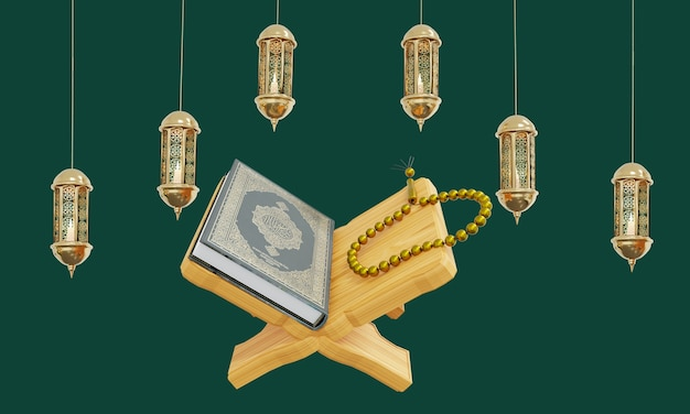 3d qur an ramadan kareem with hanging lantern crescent moon
