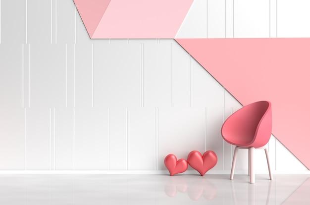 愛のインテリア赤い椅子、赤い心、ピンク赤の壁の白赤ピンクの部屋。バレンタインデー。 3d r