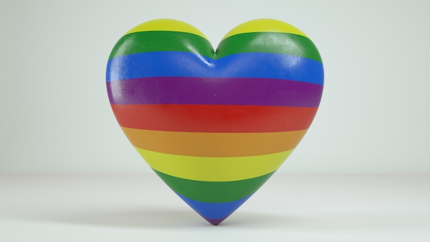 3d rainbow heart white background render