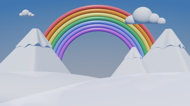 3d радуга со снежной горой