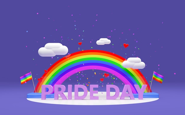 3d rainbow with text for pride day purple