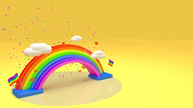 3d rainbow with text for pride day yellow perspective