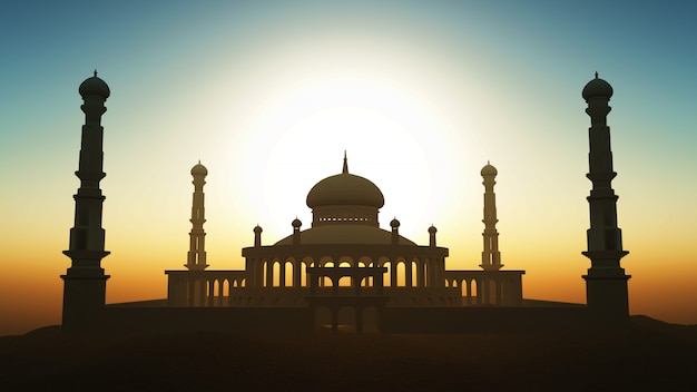 3d ramadan background with mosque against a sunset sky
