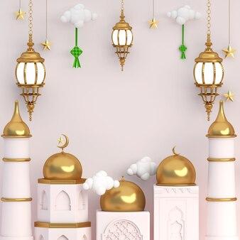 3d 라마단 이슬람 금 빈 공간