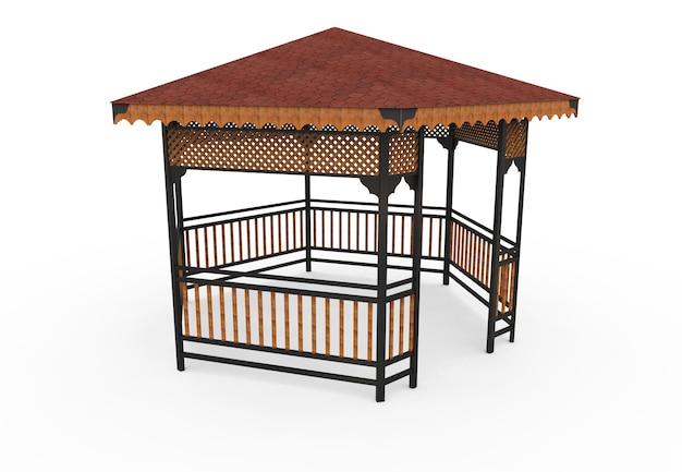3d реалистичный деревянный крытый сад скамейка шестиугольная камелия на белом фоне