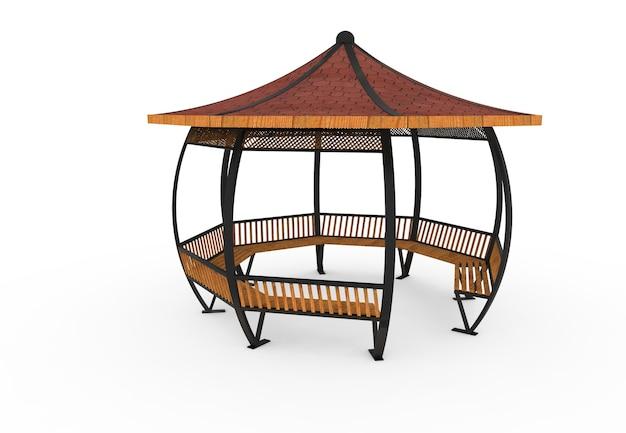 3d реалистичная деревянная крытая садовая скамейка круглая камелия на белом фоне