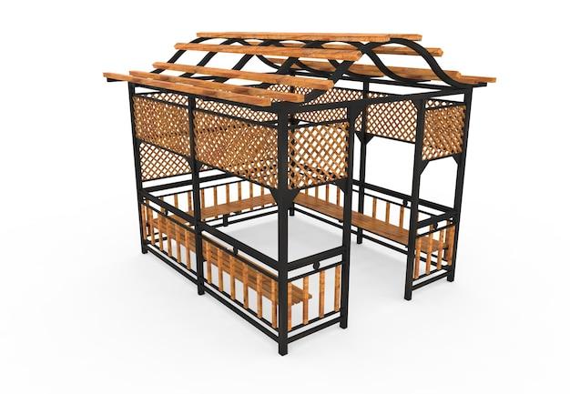 3d реалистичный деревянный крытый сад скамейка квадратная камелия на белом фоне
