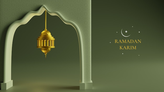 3dリアルなゴールデンランタンぶら下げアイコン、月と抽象的な豪華なイスラム