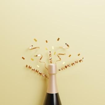 3d реалистичное празднование нового года с шампанским на золотом фоне